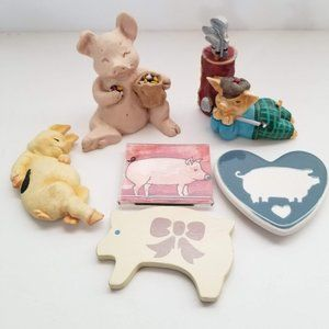Lot of 6 Pig magnets figurines statues collection
